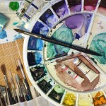 image of watercolour paints and tools